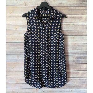 JCrew heart and polka dots sleeveless blouse